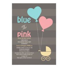 Blue or Pink Grey Baby Gender Reveal Party Invite Announcements! Make your own invites more personal to celebrate the arrival of a new baby. Just add your photos and words to this great design. Baby Shower Fun, Baby Shower Invites For Girl, Baby Shower Parties, Baby Shower Invitations, Shower Party, Bee Gender Reveal, Baby Gender Reveal Party, Zazzle Invitations, Invitation Cards