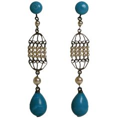 Pre-owned Rousselet Turquoise and Pearl Long Earrings (500 CAD) ❤ liked on Polyvore featuring jewelry, earrings, dangle earrings, vintage turquoise jewelry, fish earrings, turquoise jewelry, vintage earrings and beaded earrings