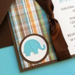 Cards Inspired - Handmade Kraft Baby Shower Invitations Boy - Pool Baby Elephant on Recycled Kraft Stock   Cards Inspired
