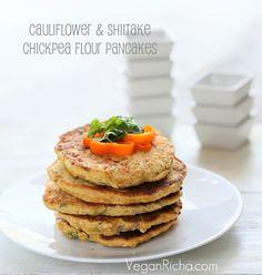 Vegan Richa: Chickpea Flour Pancakes/mini Omelettes with Cauliflower and Shiitake mushrooms. Glutenfree Vegan Recipe