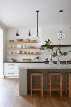 Color Palette, Overall Simplicity | M. Elle Design | Brentwood Revival | California Interior Design Firm Open Shelf Kitchen, Kitchen Island Stove, Kitchen Shelf Design, Simple Kitchen Design, Open Shelves, Best Kitchen Designs, Kitchen Tops, Kitchen Color Design, Kitchen With Floating Shelves