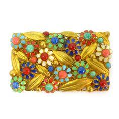 Vintage Signed Czech Gold Tone Floral Rainbow Enamel Filigree Brooch   Clarice Jewellery   Vintage Costume Jewellery