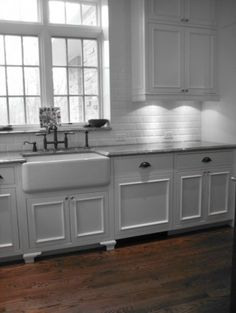 farmhouse sink, white subway tile. These are also they types of windows and transoms we are doing in the kitchen