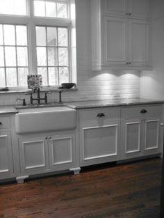 your kitchen @Janelle Lindemulder farmhouse sink, beveled tile, dark hardware
