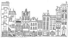 Drawing Photograph - Hand Drawn Line Drawings Of Various Whimsical Houses Shops And B 5 by Matthew Gibson Cartoon Building, Building Drawing, Town Drawing, Line Drawing, House Drawing For Kids, Building Illustration, House Illustration, House Doodle, Buch Design
