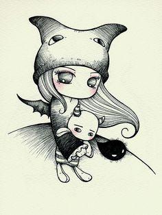 eden Emo Art, Gothic Art, Manga Drawing, Cute Illustration, Illustrations, Cool Drawings, Art Sketches, Cute Art, Painting & Drawing