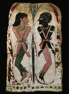 A Nubian and an Asiatic prisoner fettered at the elbows. Painted soles of two sandals. New Kingdom (1554-1080 BCE), Egypt. Drovetti Collection    Museo Egiziano, Torino, Italy