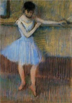 Dancer in Blue at the Barre - Edgar Degas Completion Date: c.1889 Style: Impressionism Genre: genre painting Technique: pastel Gallery: Private Collection