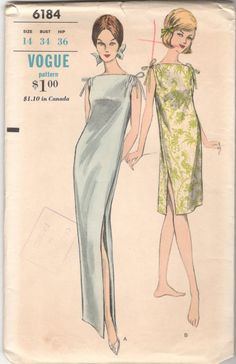 1960s Vogue 6184 Misses Goddess Nightgown Pattern by mbchills