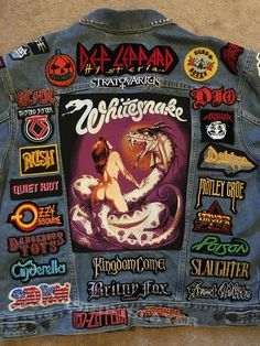 Here is the latest on my jacket dedicated to Hair Bands and current melodic power metal. One side of jacket has autographs by Jackyl and the other side is autographs. 80s Hair Metal, Hair Metal Bands, 80s Hair Bands, Band Patches, Pin And Patches, Power Metal, Estilo Dark, Pride And Glory, Rock Y Metal