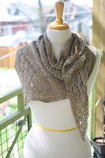 Passel Shawl. Asymmetrical triangular Shawl using 435 yes of fingering weight yarn.