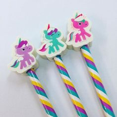 Pastel Unicorn Pencils with Eraser, Pack of Three, Fun, Kids Stationery, Office, Gift by RockinRuler on Etsy