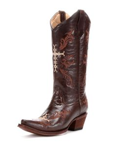 Corral Circle G Women's Chocolate/Cognac Cross Boot  http://www.countryoutfitter.com/products/50819-womens-chocolate-cognac-cross-boot
