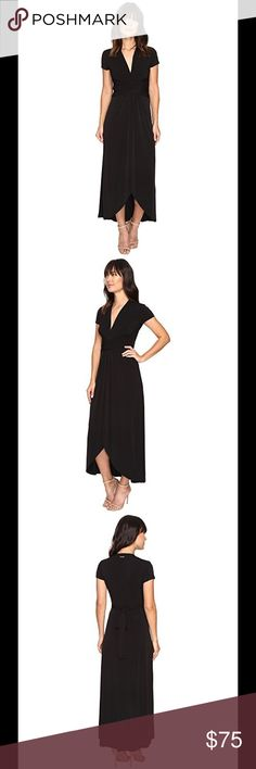 MICHAEL KORS Cap-Sleeve Wrap High Low Maxi Dress Dress to impress in this gorgeous MICHAEL Michael Kors® dress. Matte jersey fabrication in a faux-wrap silhouette. Black NWT Pleating details at front creates a gentle drape. Pullover design. V-neckline. Brand hardware at back neck. Short sleeves. Self-tie belt at back waist. High-low hemline. 95% polyester, 5% elastane. Machine wash cold, dry flat. Imported. Product measurements were taken using size SM. Please note that measurements may vary…