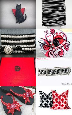 Black and White and Red All Over by Sara Smelt on Etsy--Pinned with TreasuryPin.com