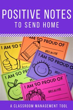 management can be tricky! Send these positive notes home to let parent's know why you were proud of their student today!Classroom management can be tricky! Send these positive notes home to let parent's know why you were proud of their student today! Classroom Behavior Management, Behaviour Management, Classroom Rewards, Classroom Reward System, Behavior Incentives, Kids Rewards, Classroom Community, Future Classroom, Classroom Decor