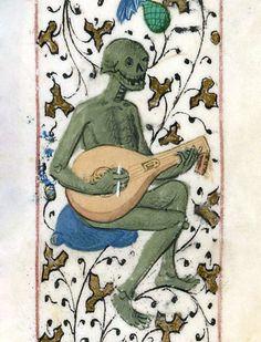 the lute player Pierre Michault, La Dance aux aveigles, France 1466 BnF, Français 1654, fol. 171r