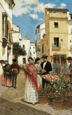'Plaza de La Alfalfa, Seville', 1907   Painting by Joaquín Turina y Areal, Spanish, 1847 - 1903