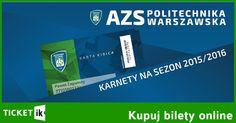 Sprzedaż karnetów AZS Politechnika Warszawska wraz Kartą Kibica Ticketik rozpoczęta. W tej chwili jeszcze ponad 1000 szt. Ceny: normalny - 300 PLN, ulgowy - 200. Zapraszamy do zakupów: http://ticketik.pl/#!/Wydarzenie/14