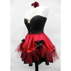 Red Burlesque Tutu Satin Skirt With Tulle Steampunk Gothic Moulin... ($97) ❤ liked on Polyvore featuring skirts, dresses, grey, women's clothing, victorian skirt, red skirt, striped skirt, tulle tutu skirt and grey tutu