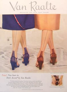 Stockings with the seams 40s 50s vintage color photo print ad illustration nylons cuban heel shoes skirts fashion ladies women