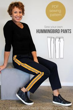 Our Hummingbird pants are one of our most popular PDF sewing patterns. Versatile and easy, they can be sewn in knit as track pants, winter weight woven wool blends or linen as a stylish summer option. Add some leg trim for added couture. Available for instant download at The Sewing Revival  to learn more. #easysewingpattern #womenspantpattern #winterpantpattern #trackpantpattern