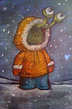 3D Chalk Art by David Zinn, Sluggo in Winter.