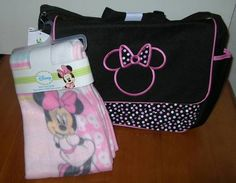 Disney Baby Minnie Mouse Large Diaper Bag Fleece Printed Blanket Black Girls | eBay
