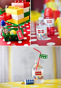 lego water bottle labels and party decoration ideas