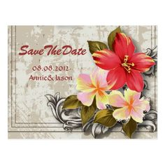 Hawaii Wedding Save the Date Cards hawaii hibiscus tropical wedding save the date postcard