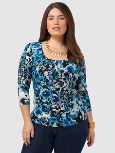 Greenwich Top In Navy Floral
