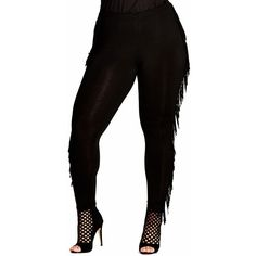 Plus Size Women's City Chic Fringe Leggings (725 MXN) ❤ liked on Polyvore featuring pants, leggings, black, plus size, plus size pants, plus size womens leggings, faux-leather leggings, legging pants and faux-leather pants