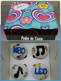 Caja de cupcakes por 4 unidades,  sabor a chocolate para un cumpleaños.