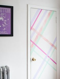 There's nothing attractive about the exterior of a dorm room door, but you can easily make it welcoming and design-worthy with washi tape or removable decals. We especially love this fun and abstract washi tape pattern that can instantly turn a contractor-grade door into a welcoming entryway.