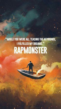 """Wallpaper   Rap Monster """"Enquanto todos vocês estavam brincando com o teclado, eu realizei meus sonhos"""""""
