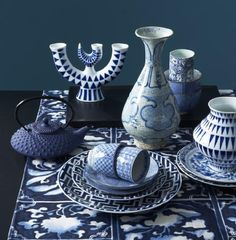 I am loving blue and white pottery, always a favourate and creates wonderful displays.  Sargadelos, Japanese and Chinese porcelain.