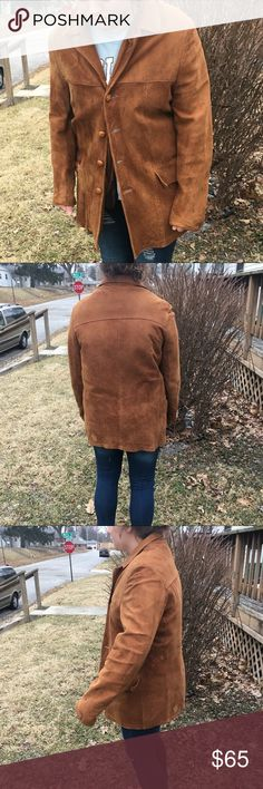 🆕List! Vintage Eddie Bauer Suede Coat! EVC! Circa 1978? This was my dads coat! Quality Eddie Bauer that lasts a lifetime! Removable puffer vest zips into the inside of the coat! Some wear to suede as shown. Buttons have been replaced. Small patch at wrist. Size 44. Great vintage condition. Eddie Bauer Jackets & Coats
