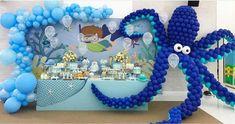 No automatic alt text available. Baby Boy 1st Birthday, Boy Birthday Parties, Birthday Party Decorations, Underwater Birthday, Qualatex Balloons, Balloon Arrangements, Balloon Garland, Bernardo, Instagram