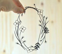 wildflowers & arrows wreath . original papercut . 5 x 7 by birdmafia, $35.00
