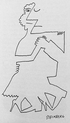 Rather Picasoesque illustration by Saul Steinburg. Man and a woman are simply combined yet disparate at the same time.