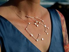 Sagittarius Zodiac Constellation Sterling Silver Necklace on Rubber Cord $150.00
