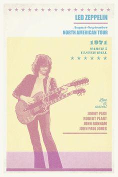 Led Zeppelin Rock Jimmy Page  poster 12X18 by progressiveprint, $22.00