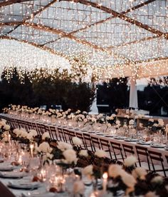 Glittering fairy lights + rows of white roses. Simply magical ☁️✨ ⠀⠀⠀⠀⠀⠀⠀⠀⠀ Spotted on Coupl Mumu Wedding, Wedding Goals, Wedding Locations, Wedding Venues, Wedding Reception, Cake Wedding, Bouquet Wedding, Wedding Favors, Perfect Wedding