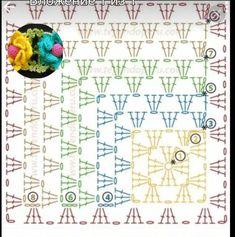 Crochet Square Patterns, Crochet Quilt, Granny Square Crochet Pattern, Crochet Squares, Crochet Home, Crochet Granny, Crochet Blanket Patterns, Crochet Doilies, Crochet Stitches