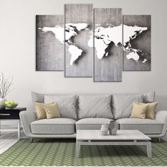 3D Iron World Map Multi Panel Canvas Wall Art - Clearance