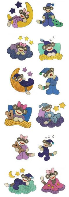 OregonPatchWorks.com - Sets - Sleep Slumber Sock Monkeys Filled