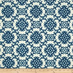 Tommy Bahama Home Outdoor Medallion Isl Riptide outdoor fabric features a medallion design in navy and aqua. Designer outdoor fabric for cushions, pillows.