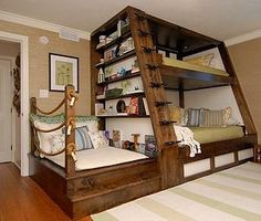 Awesome Space Saving Kids Bedroom Design Featuring Perfect Wooden Bunk Beds With Unique Black Metal Stairs And Bookshelves On The Left Side, Best Of Coolest Modern Kid Beds: Bedroom, Furniture, Interior, Kids Room Cool Bunk Beds, Kids Bunk Beds, Unique Bunk Beds, Bunk Beds With Steps, Kids Beds Diy, Cool Kids Beds, Bed For Kids, Cool Beds For Teens, Custom Bunk Beds