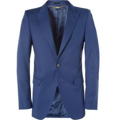 Alexander McQueen Blue Slim-Fit Wool and Mohair-Blend Suit Jacket | MR PORTER