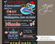 Pool party graduation party invitation for a high school graduation or college graduation party. Printable Invitations, Printables, College Graduation Parties, Graduation Party Invitations, Have Some Fun, Best Part Of Me, Etsy Seller, Handmade Gifts, Decor